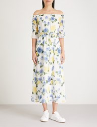 The Kooples Wild Rose Floral Off Shoulder Crepe Maxi Dress Ecr01