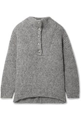 Hatch The Jo Ribbed Cotton And Alpaca Blend Sweater Gray