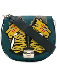 Furla Tiger Patch Saddle Bag Green