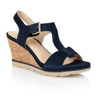 Lotus Mirror Wedge Sandals Navy