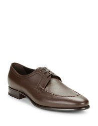 A. Testoni Moctoe Leather Oxfords Brown