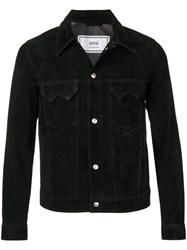 Ami Alexandre Mattiussi Suede Buttoned Jacket With Chest Pockets Black