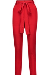 Juan Carlos Obando Tonka Silk Satin Slim Leg Pants Red