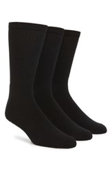 Nordstrom Men's Big And Tall Mens Shop 3 Pack Crew Cut Athletic Socks Black