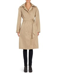 Anne Klein Solid Single Breasted Trench Coat Khaki