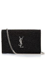 Saint Laurent Monogram Polka Dot Suede Cross Body Bag Black