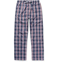 Derek Rose Roe Barker Checked Cotton Pyjama Trouer Navy