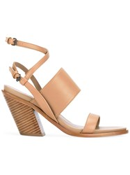 A.F.Vandevorst Double Strap Sandals Women Leather Sheep Skin Shearling 38 Nude Neutrals