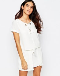 Tfnc Lyn Top With Rope Lace Up Detail White