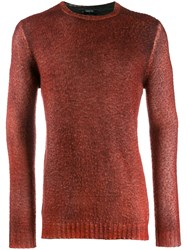 Avant Toi Crew Neck Knitted Sweater Red