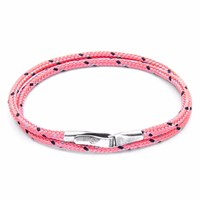 Anchor And Crew Pink Liverpool Silver Rope Bracelet Pink Purple
