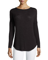 Halston Heritage Long Sleeve Burnout Combo Tee Black