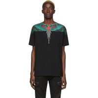 Marcelo Burlon County Of Milan Black And Green Wings T Shirt