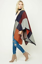 Forever 21 Contemporary Colorblock Shawl Burgundy Navy