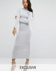 Puma Exclusive To Asos Bodycon Maxi Dress With Split Back Light Grey Heather