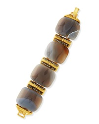 Jose And Maria Barrera 24K Gold Plated Gray Stone Bracelet