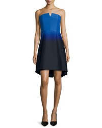 Halston Heritage Strapless Ombre Fit And Flare Dress Cobalt Black