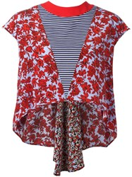 Msgm Asymmetric Floral Top Red