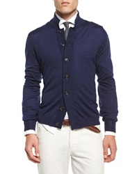 Brunello Cucinelli Button Down Knit Cardigan Navy