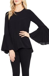 Vince Camuto Pleated Bell Sleeve Blouse Rich Black