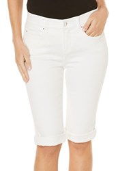 Rafaella Petite Solid Folded Cuff Pants White