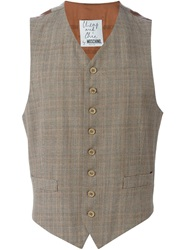 Moschino Vintage Checked Tweed Waistcoat Brown