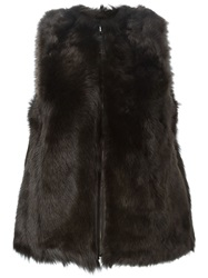 Fendi Lamb Fur Gilet Brown