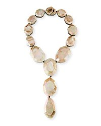 Viktoria Hayman Faceted Pink Mother Of Pearl Lariat Necklace