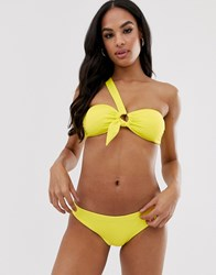 Seafolly One Shoulder Ring Detail Bikini Top In Neon Lime Green