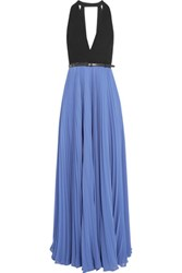 Halston Heritage Crepe And Pleated Georgette Gown Blue
