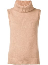 Leo And Sage Roll Neck Sleeveless Knitted Top Nude Neutrals