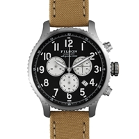 Filson Mackinaw Field Chrono Watch Navy And Tan Tin Cloth