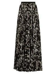 Giambattista Valli Floral Print Pleated Silk Maxi Skirt Black Multi