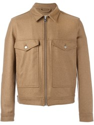 Ami Alexandre Mattiussi Buttoned Pockets Zipped Jacket Brown