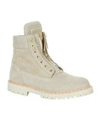 Balmain Taiga Ranger Perforated Suede Boots Male Beige