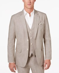 Tasso Elba Men's Classic Fit Chambray Blazer Only At Macy's Taupe Comb