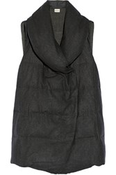 Dkny Quilted Wool Flannel Vest Gray