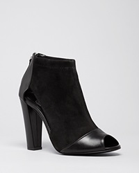 Delman Peep Toe Booties Drea High Heel Black