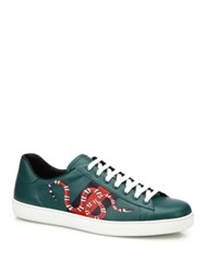Gucci New Ace Snake Print Leather Low Top Sneakers Green