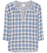 Velvet Plaid Cotton Blouse Blue