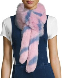 Charlotte Simone Swirly Striped Fox Fur Scarf Pink