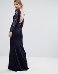 Tfnc Lace Fishtail Maxi Dress With Low Scallop Back Navy