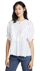 The Great Great. Ruffle Triangle Top White