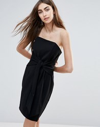 Adelyn Rae Tube Dress With Tie Front Black