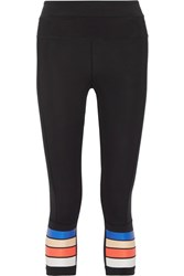 P.E Nation The Scoop Cropped Striped Stretch Jersey Leggings Black