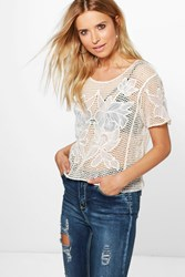 Boohoo Crochet T Shirt Cream