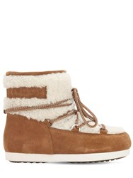 Moon Boot Far Side Low Shearling Boots Whiskey