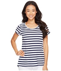 Hatley Cotton Linen Tee Navy White Stripes Women's T Shirt