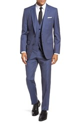 Boss Huge Genius Trim Fit Solid Three Piece Wool Suit Blue