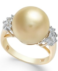 Macy's Cultured Freshwater Pearl 12Mm And Diamond 1 4 Ct. T.W. Ring In 14K Gold